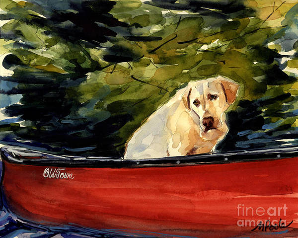 Yellow Labrador Retriever Poster featuring the painting Old Town by Molly Poole