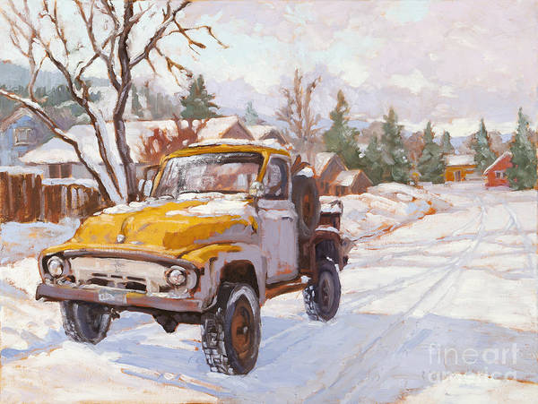 Old Truck Poster featuring the painting Old Town Ride by Chula Beauregard