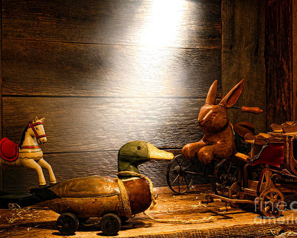 Wooden Toys Poster featuring the photograph Old Toys In The Attic by Olivier Le Queinec