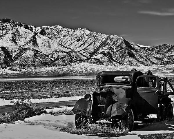 Black And White Poster featuring the photograph Old Truck by Robert Bales