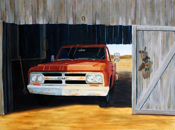 Trucks Poster featuring the painting Old Trucks And Decoys by Scott Alcorn