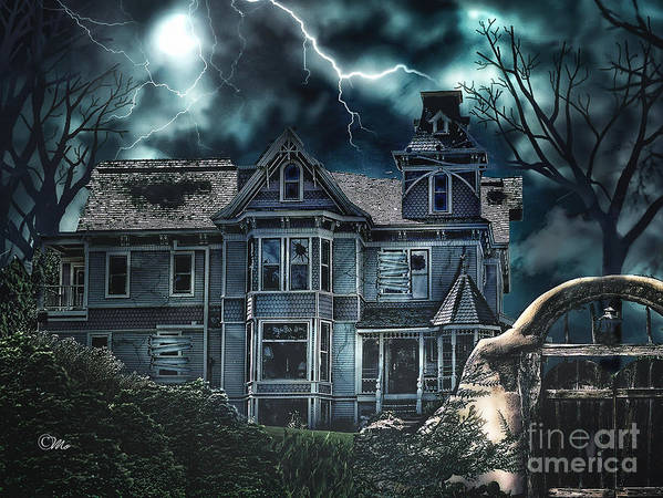 Old Victorian House Poster featuring the digital art Old Victorian House by Mo T