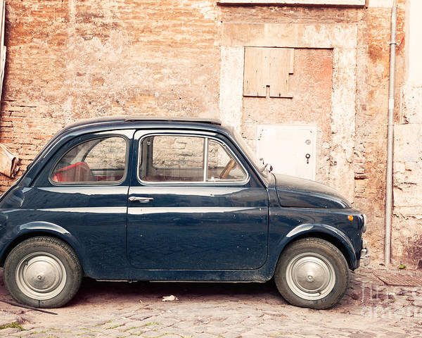 Old Vintage Fiat 500 Car In Rome Italy Poster