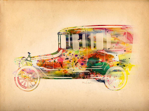 Car Poster featuring the digital art Old Volkswagen3 by Mark Ashkenazi