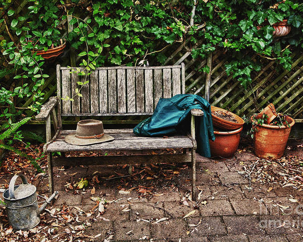 Wooden Bench Poster featuring the photograph Old Wooden Garden Bench by Sheila Smart Fine Art Photography