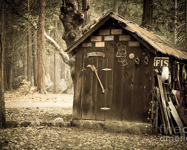 Aged Poster featuring the photograph Old Wooden Shed Yosemite by Jane Rix