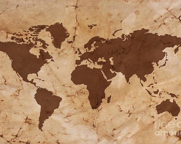 World Map Poster featuring the photograph Old World Map On Creased And Stained Parchment Paper by Richard Thomas