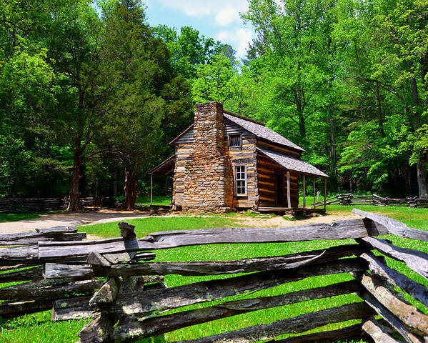 John Oliver Cabin Poster featuring the photograph Oliver Cabin 1820s by David Lee Thompson