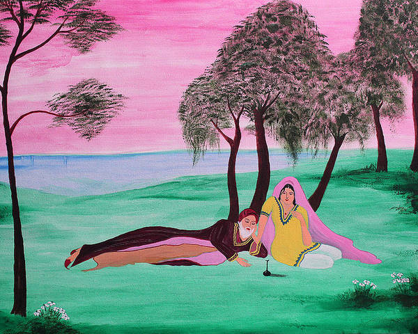Paint Poster featuring the painting Omar Khayyam- Rubaiyat 1 by Amit Thakurta