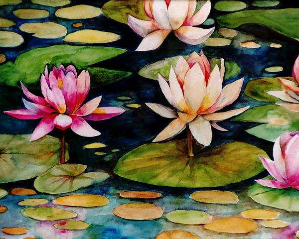 Lily Poster featuring the painting On Lily Pond by Jun Jamosmos