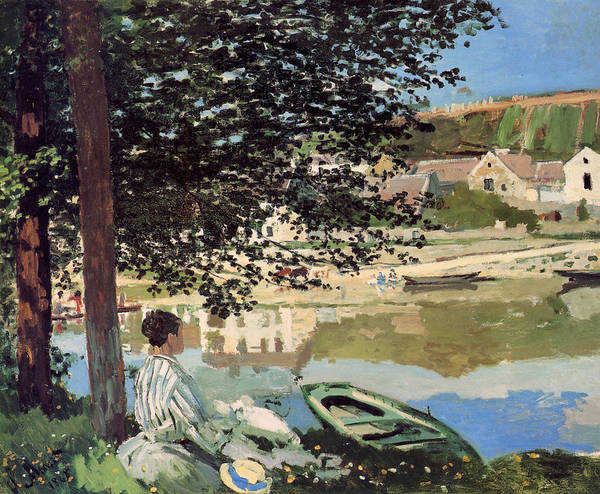 Monet Poster featuring the painting On The Bank Of The Seine by Claude Monet