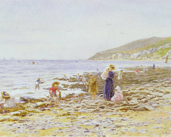 Beach Poster featuring the painting On The Beach by Helen Allingham