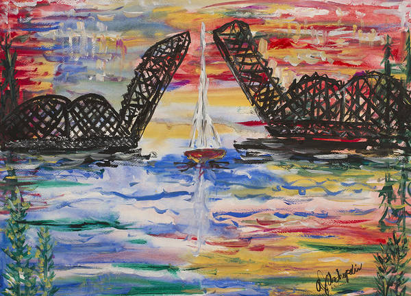 Door County Poster featuring the painting On The Hour. The Sailboat And The Steel Bridge by Andrew J Andropolis