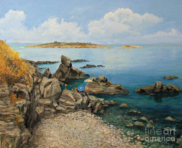 Art Poster featuring the painting On The Rocks In The Old Part Of Sozopol by Kiril Stanchev