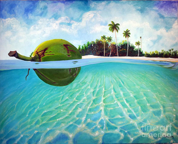 Coconut Poster featuring the painting On The Way by Jose Manuel Abraham