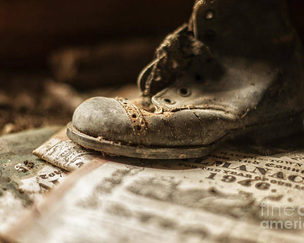 Child Poster featuring the photograph One Single Shoe by Terry Rowe