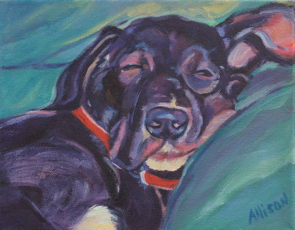 Dog Poster featuring the painting One Tired Puppy by Stephanie Allison