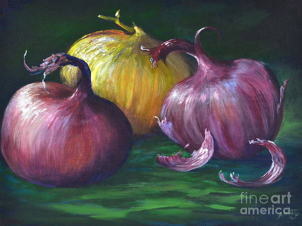 Still Life Painting Poster featuring the painting Onions by AnnaJo Vahle