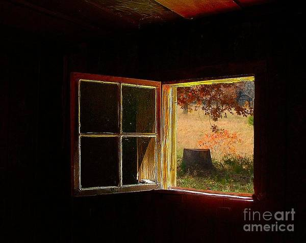 Log Cabin Art Poster featuring the photograph Open Cabin Window II by Julie Dant