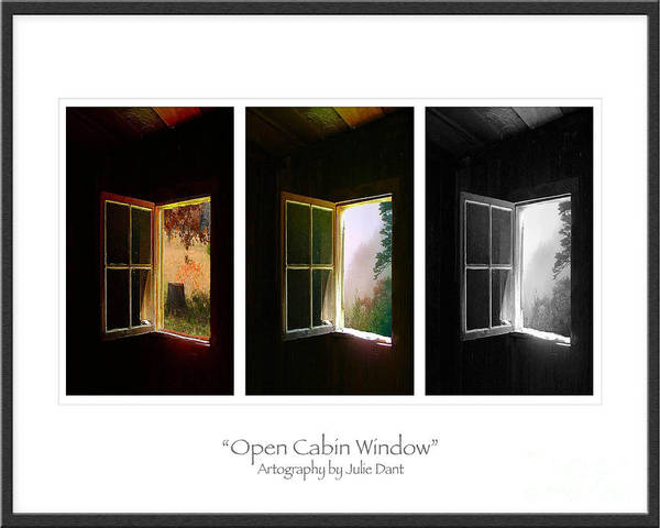Log Cabin Art Poster featuring the photograph Open Cabin Window Trio by Julie Dant