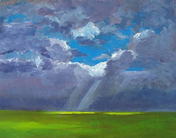 Landscape And Scenic Painting Poster featuring the painting Open Field Majestic by Patricia Awapara