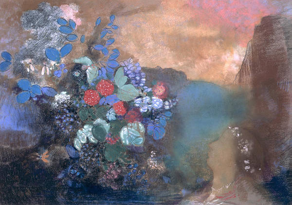 Hamlet; Shakespeare; Drowned; River; Floating Poster featuring the painting Ophelia Among The Flowers by Odilon Redon