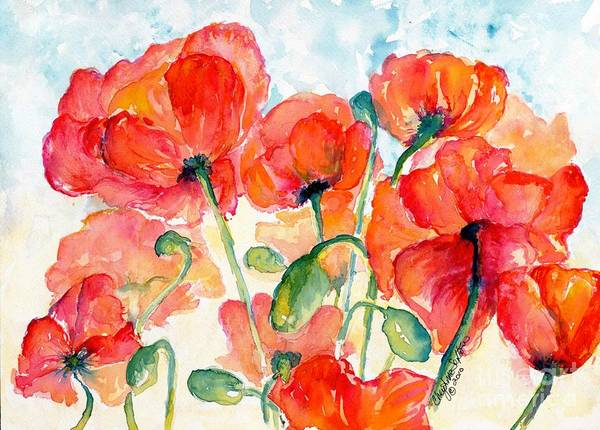 Orange Poster featuring the painting Orange Field Of Poppies Watercolor by CheyAnne Sexton