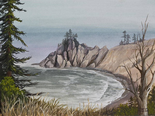 Oregon Poster featuring the painting Oregon Coast by Darice Machel McGuire
