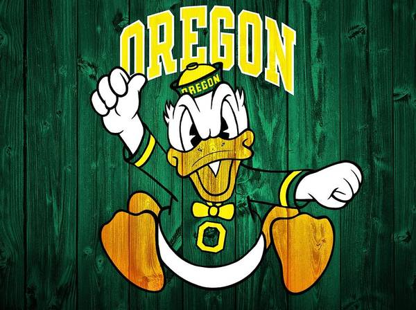 Oregon Ducks Barn Door Poster Featuring The Digital Art Oregon Ducks Barn  Door By Dan Sproul