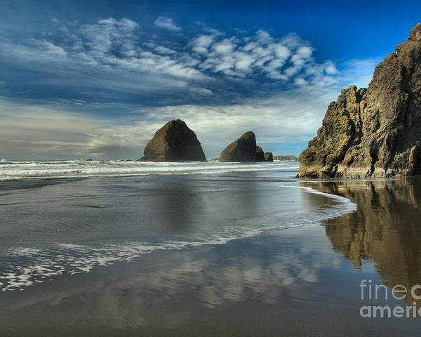 Meyers Creek Poster featuring the photograph Oregon Sea Stack Surf by Adam Jewell