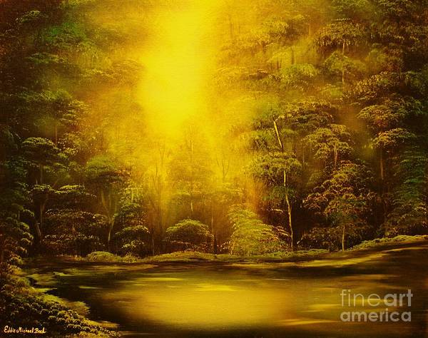 Landscape Poster featuring the painting Green Forest Glow-original Sold- Buy Giclee Print Nr 35 Of Limited Edition Of 40 Prints by Eddie Michael Beck