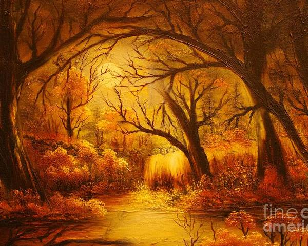 Landscape Poster featuring the painting Hot Forest- Original Sold- Buy Giclee Print Nr 29 Of Limited Edition Of 40 Prints by Eddie Michael Beck