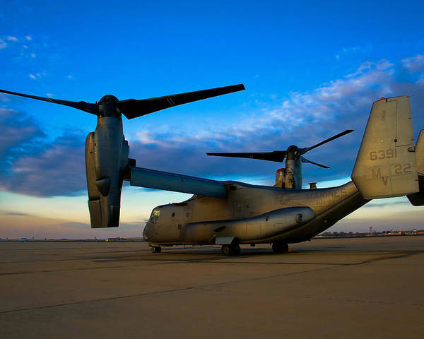 V22 Poster featuring the photograph Osprey Sunrise Series 1 Of 4 by Ricky Barnard