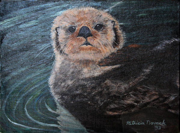Otters Poster featuring the painting Ottertude by Patricia Novack