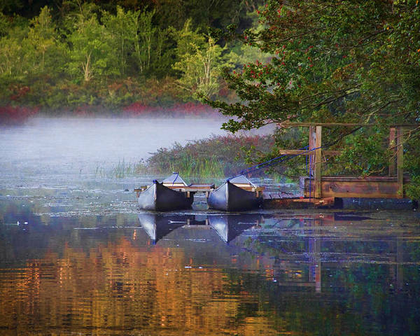 Canoes Poster featuring the photograph Our Canoes Await by MaryAnn Barry