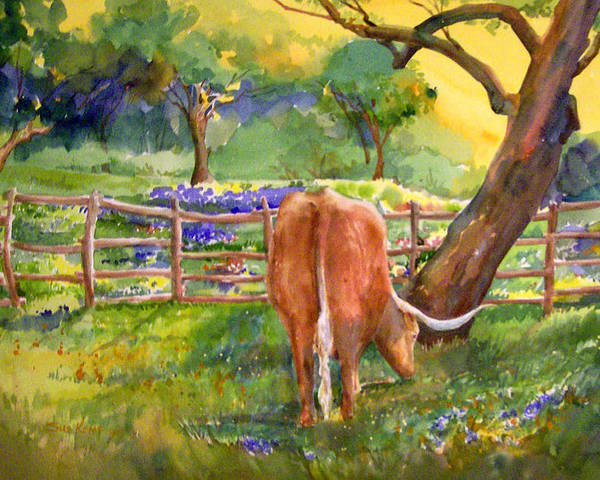 Longhorn Poster featuring the painting Out To Pasture by Sue Kemp