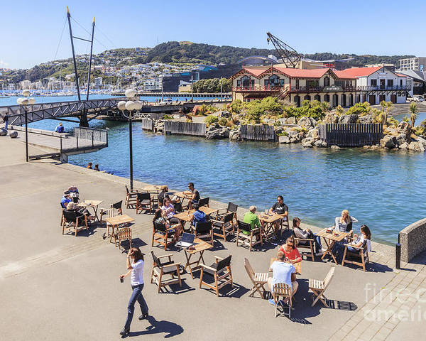 New Zealand Poster featuring the photograph Outdoor Cafe Wellington New Zealand by Colin and Linda McKie