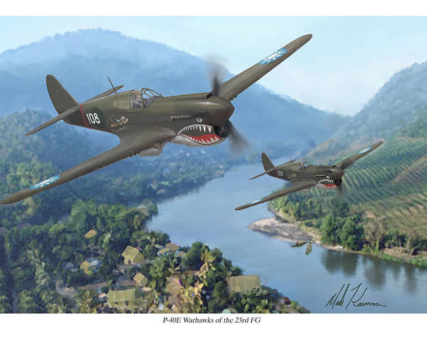 Airplanes Poster featuring the painting P-40 Warhawks Of The 23rd Fg by Mark Karvon
