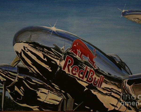 Warbirds Poster featuring the painting P38 Red Bull Lightning Warbird by Richard John Holden RA