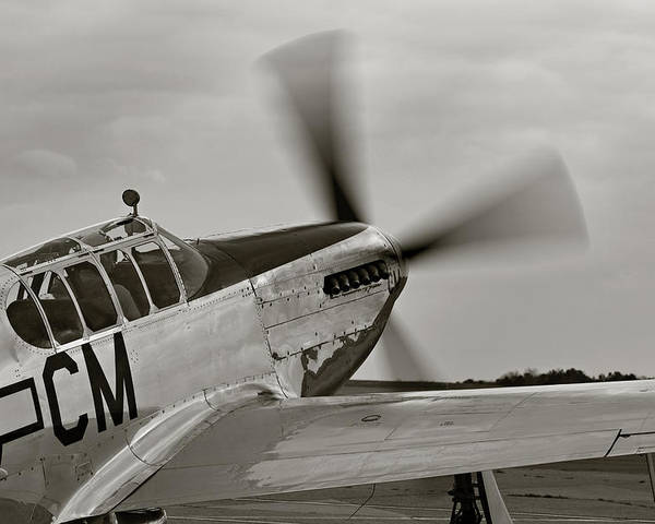 Ww Ii Airplane Poster featuring the photograph P51 Mustang Takeoff Ready by M K Miller