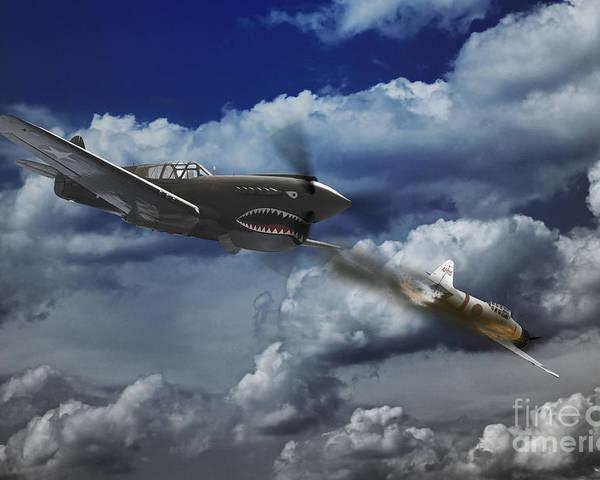P40 Warhawk Poster featuring the digital art Pacific Battle by J Biggadike