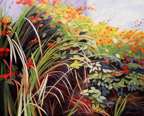 Landscape Poster featuring the painting Pacific Crocosmia by Melody Cleary