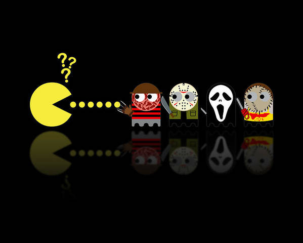 Pacman Poster featuring the digital art Pacman Horror Movie Heroes by NicoWriter
