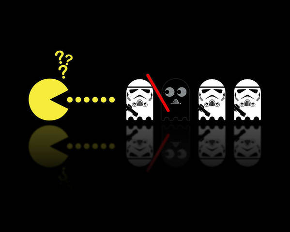 Pacman Poster featuring the digital art Pacman Star Wars - 1 by NicoWriter