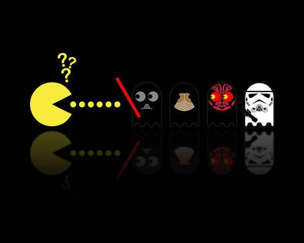 Pacman Poster featuring the digital art Pacman Star Wars - 2 by NicoWriter