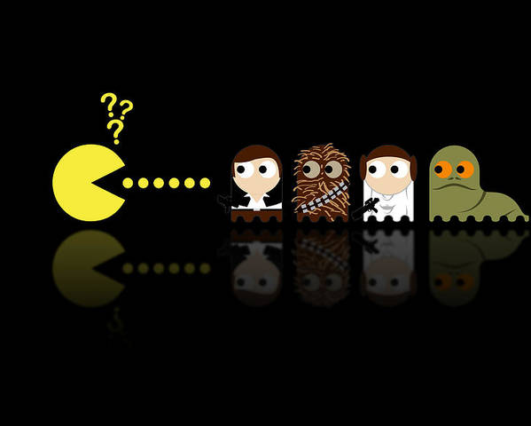 Pacman Poster featuring the digital art Pacman Star Wars - 4 by NicoWriter