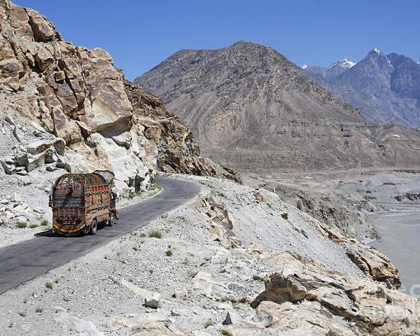 Karakorum Poster featuring the photograph Painted Truck On The Karakorum Highway In Pakistan by Robert Preston