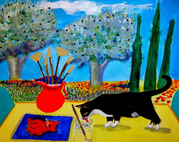Provence Poster featuring the painting Painting is thirsty work by Rusty Gladdish
