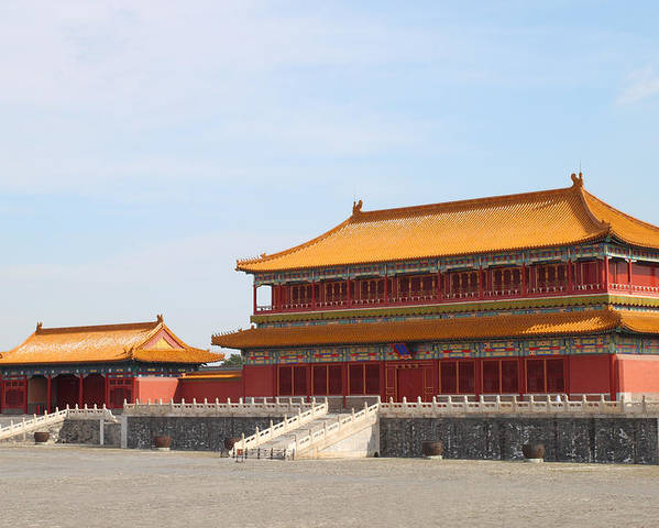 Ancient Poster featuring the photograph Palace Forbidden City In Beijing by Thanapol Kuptanisakorn