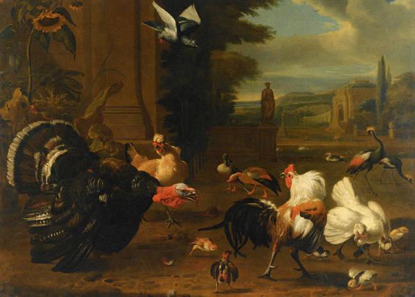 Melchior De Hondecoeter Poster featuring the digital art Palace Garden Exotic Birds And Farmyard Fowl by Melchior de Hondecoeter